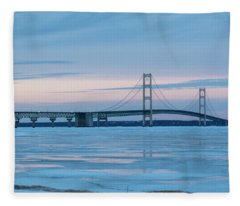 Mackinac Bridge In Ice 2161803 Fleece Blanket