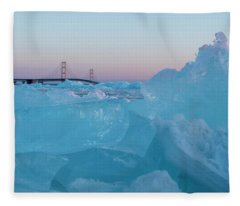 Mackinac Bridge In Ice 2161805 Fleece Blanket