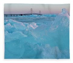 Mackinac Bridge In Ice 2161806 Fleece Blanket