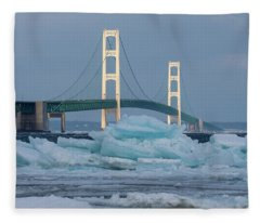 Mackinac Bridge In Ice 2161809 Fleece Blanket