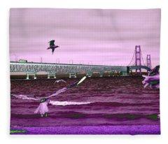 Mackinac Bridge Seagulls Fleece Blanket