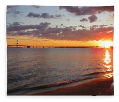 Mackinac Bridge Sunrise Panorama Fleece Blanket