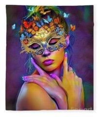 Madame Butterfly Fleece Blanket