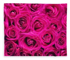Magenta Roses Fleece Blanket