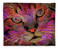 Maggie May The Magenta Tabby Cat Fleece Blanket