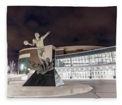 Magic Johnson Statue At Michigan State University  Fleece Blanket