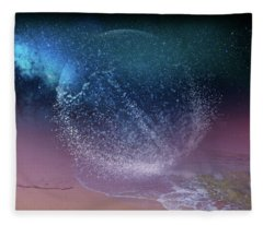 Magical Night Moment By The Seashore In Dreamland 3 Fleece Blanket