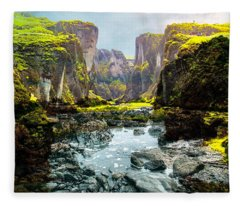 Magnificent Rural Canyons Montage Fleece Blanket