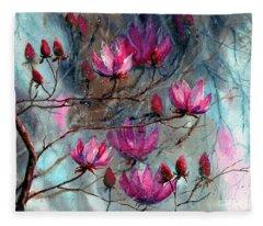 Magnolia At Midnight Fleece Blanket