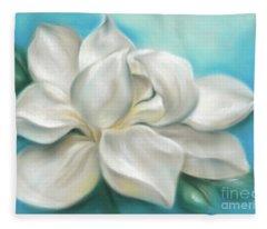 Magnolia Grandiflora Flower On Blue Fleece Blanket