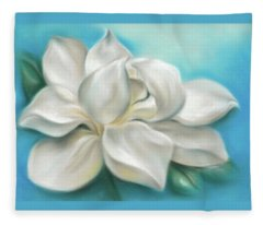 Magnolia Grandiflora Flower On Blue Fleece Blanket