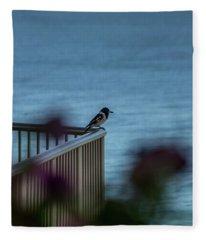 Magpie Bird Fleece Blanket