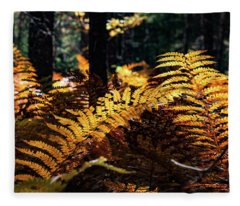Maine Autumn Ferns Fleece Blanket