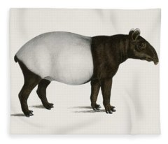 Malayan Tapir  Equus Montanus  Illustrated By Charles Dessalines D' Orbigny  1806-1876  Fleece Blanket