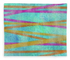 Malaysian Tropical Batik Strip Print Fleece Blanket