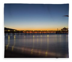 Malibu Pier At Sunrise Fleece Blanket