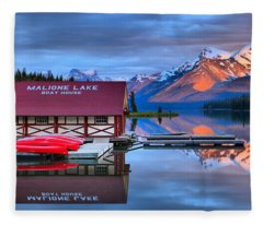 Maligne Lake Sunset Spectacular Fleece Blanket