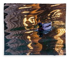 Mallard In Reflections Fleece Blanket