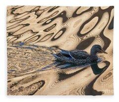 Mallard Reflections In Blue Fleece Blanket