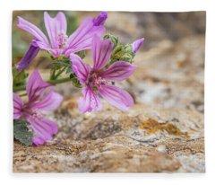 Malva Sylvestris - Spontaneous Flower Of The Tuscan Mountains Fleece Blanket