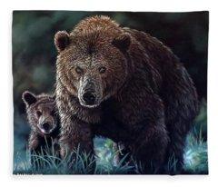 Mama Brown With Cubs Fleece Blanket