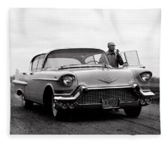Man Smoking Pipe By 1958 Cadillac Fleece Blanket