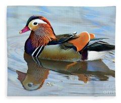 Mandarin Duck Central Park 1 Fleece Blanket