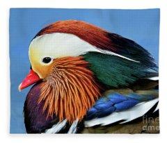 Mandarin Duck Portrait 1 Fleece Blanket