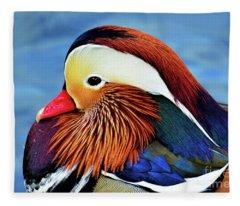 Mandarin Duck Portrait 2 Fleece Blanket