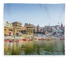 Manikarnika Ghat Varanasi Fleece Blanket