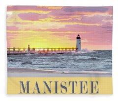 Manistee Pierhead Poster Fleece Blanket