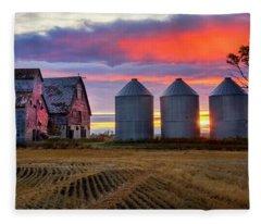 Manitoba Rural Scene Fleece Blanket