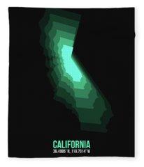Map Of California Teal Fleece Blanket