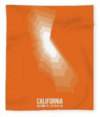 Map Of California White Fleece Blanket