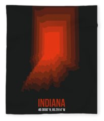 Map Of Indiana 1 Fleece Blanket