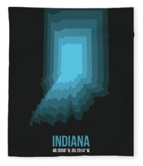 Map Of Indiana 2 Fleece Blanket