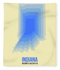 Map Of Indiana Fleece Blanket