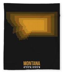 Map Of Montana 3 Fleece Blanket