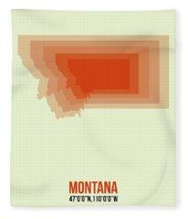 Map Of Montana Fleece Blanket