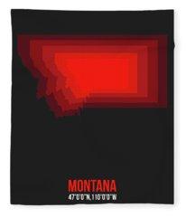Map Of Montana Red Fleece Blanket