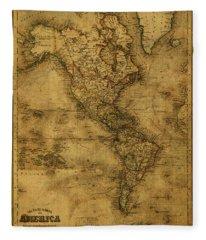 Map Of North America 1843 Fleece Blanket