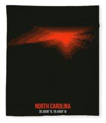 Map Of North Carolina, Red Fleece Blanket