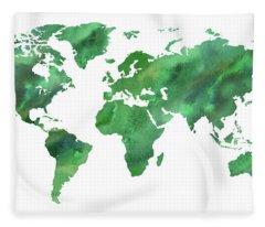 Map Of The World In Green Watercolor Fleece Blanket