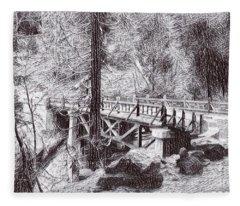 Marble Fork Bridge, Generals Highway, Three Rivers, Tulare County, Ca. 1929 Time Travel Art Fleece Blanket