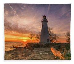 Marblehead Lighthouse Sunrise  Fleece Blanket