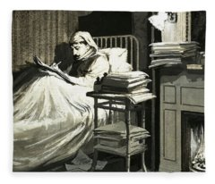 Marcel Proust Sat In Bed Writing Remembrance Of Things Past Fleece Blanket