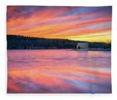 March Sunset At The Old Stone Church Fleece Blanket