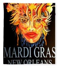 Mardi Gras Lady Fleece Blanket