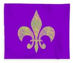 Mardi Gras Party Fleur De Lis Fleece Blanket