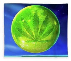 Marijuana Moon  Fleece Blanket